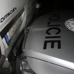 nabourané policejní auto při couvání