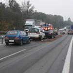 následná dopravní nehoda 7 vozidel s jedným lehkým zraněním. silnice 1-48 mezi Novým Jičínem a Příborev obci Rybí (1)