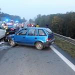následná dopravní nehoda 7 vozidel s jedným lehkým zraněním. silnice 1-48 mezi Novým Jičínem a Příborev obci Rybí (4)